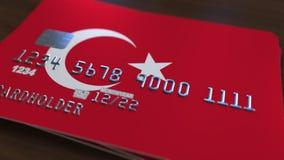 Plastic betaalpas die vlag van Turkije kenmerken De nationale verwante animatie van het bankwezensysteem royalty-vrije illustratie