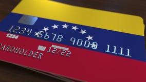 Plastic betaalpas die vlag van Venezuela kenmerken De Venezolaanse nationale verwante animatie van het bankwezensysteem stock illustratie
