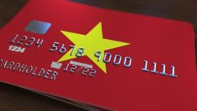 Plastic betaalpas die vlag van Vietnam kenmerken De Vietnamese nationale verwante animatie van het bankwezensysteem stock illustratie
