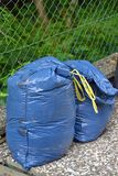 Plastic bin bags full of garden rubbish. Ready for recycling Stock Images