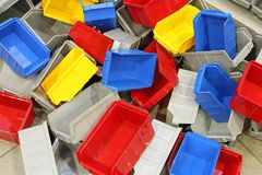 Plastic Bins. Big Bunch of Colorful Plastic Bins and Tubs royalty free stock images