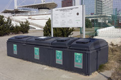 Plastic black  containers for garbage Royalty Free Stock Images