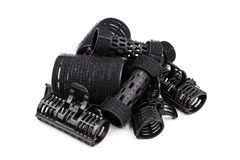 Plastic black hair curlers Royalty Free Stock Image
