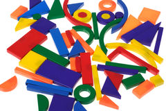 Plastic blocks, geometrical figures Royalty Free Stock Images