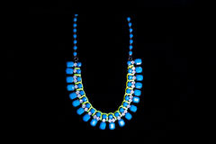 Plastic blue necklace Royalty Free Stock Photography