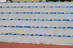 Plastic Blue Seats On Football Stadium Stock Image