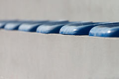 Plastic Blue Seats On Football Stadium Royalty Free Stock Images