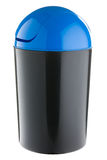 Black plastic with blue lid selective trash can for paper Stock Photo