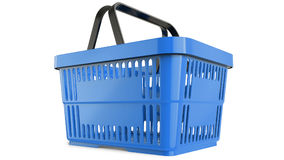 Plastic blue shopping basket. 3D model Royalty Free Stock Photo