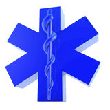 Plastic blue star of life, from bottom right. Plastic blue star of life, 3d rendering on white background Royalty Free Stock Images