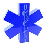 Plastic blue star of life, from top left. Plastic blue star of life on white background, 3d rendering Stock Photos