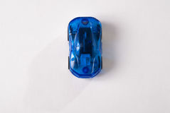 Plastic blue Toy car on white background, simple design, children's toy. Toy plastic blue car on white background Royalty Free Stock Image