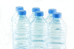 Plastic blue water  bottles Royalty Free Stock Image