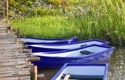 Plastic boat edge river Stock Images