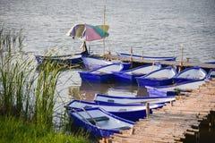 Plastic boat edge river Stock Photos