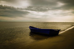Plastic Boat and Sunset Royalty Free Stock Photography