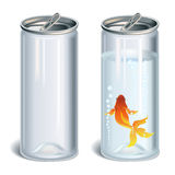 Plastic bottle. Transparent plastic bottles empty and with water and gold fish Royalty Free Stock Photo