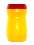 Plastic Bottle. Yellow and red plastic bottle. Isolated on white background Royalty Free Stock Images
