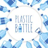 Plastic bottle background vector illustration. Different sizes of cartoon containers for water and other liquids. Blue. Empty bottles in circle banner poster royalty free illustration