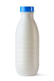 Plastic bottle with blue lid for dairy foods. On white Stock Images