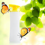 Plastic bottle and butterfly Stock Photo