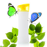 Plastic bottle and butterfly Stock Images