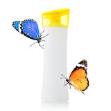 Plastic bottle and butterfly Royalty Free Stock Photo