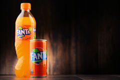 Plastic bottle and can of carbonated soft drink Fanta Stock Photo