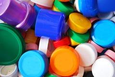Plastic bottle caps. Closeup of multicolored plastic bottle caps for recycling Stock Photo