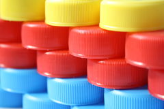 Plastic bottle caps Royalty Free Stock Images