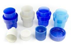 Plastic bottle caps. Colorfoul plastic bottle caps isolated on white background Royalty Free Stock Photos