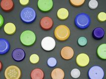 Plastic bottle tops Royalty Free Stock Image