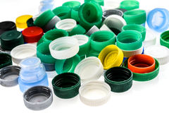 Plastic bottle caps in different colours. Stock Photography