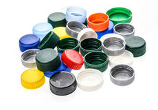 Plastic bottle caps in different colours. Royalty Free Stock Image