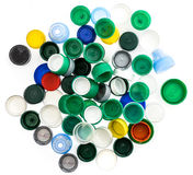 Plastic bottle caps in different colours. Royalty Free Stock Photo