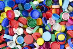 Plastic bottle caps. Or tops background, recycling concept Stock Image
