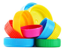 Plastic bottle caps on white Royalty Free Stock Photography