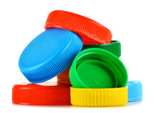 Plastic bottle caps on white Stock Image