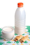 Plastic bottle with clabber, glass and bagels Stock Photos