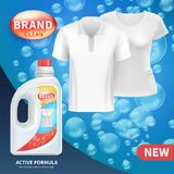 Plastic bottle with clean laundry detergent. Advertising vector background. Illustration of detergent product bottle advertising banner stock illustration