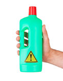 Plastic bottle cleaning-detergent, danger Stock Image