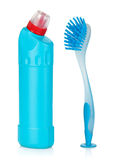 Plastic bottle of cleaning product and brush Stock Photos