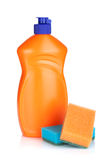 Plastic bottle of cleaning product and sponges Stock Photography