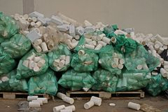 Plastic bottle container improper storage, warehouse management. Need to improve for safety and hygine Stock Photos