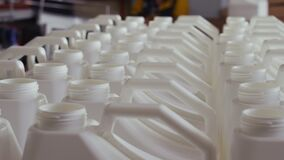 Plastic bottle on the conveyor. Clip. High technology Plastic bottle manufacturing industrial, Raw material plastic