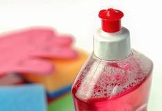Plastic bottle with detergent and sponge Royalty Free Stock Image
