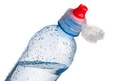 Plastic bottle of drinking water isolated Stock Images