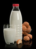 Plastic bottle, glass with milk and a vase with doughnuts Royalty Free Stock Image
