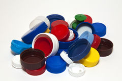 Plastic bottle lids. A heap of some plastic lids of different colours Royalty Free Stock Photo