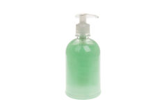 Plastic Bottle with liquid soap, isolated on white Royalty Free Stock Images
